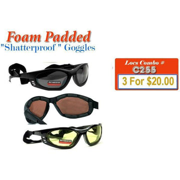 Shatterproof Motorcycle Foam Padded Goggles ( Combo Deal )