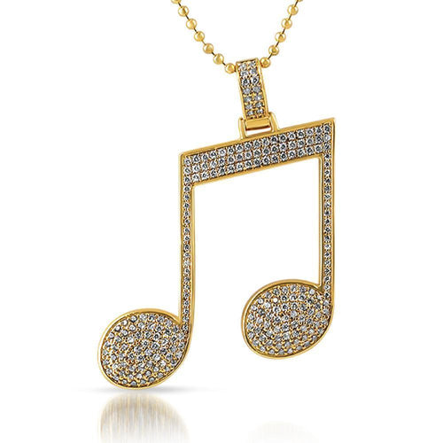 Lovely Music Note Necklace In Gold