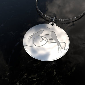 Sterling Silver, Birds Singing, Pendant Necklace