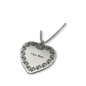 Heart-shaped necklace can be personalized.