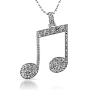 Sparkling Music Note Rhodium And Cubic Zirconia Pendant
