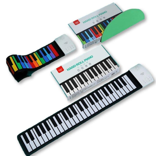 Cool Portable Silicone Piano Rolls Up To Take Along!