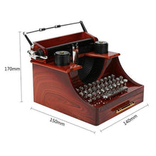 Load image into Gallery viewer, Quality Wooden Typewriter Music Box! An Exquisite Antique Design!