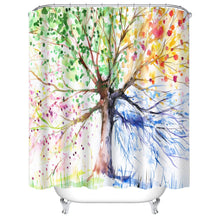 Load image into Gallery viewer, Watercolor Trees Shower Curtains! See The Songbirds?