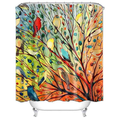 Watercolor Shower Curtains! See The Songbirds?
