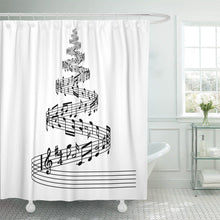 Load image into Gallery viewer, 'Black and White' Christmas Tree Shower Curtain!