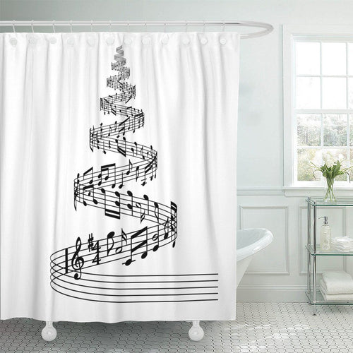 'Black and White' Christmas Tree Shower Curtain!