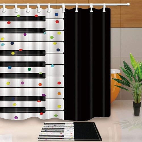 Confetti Keyboard Shower Curtain With Bath Mat!
