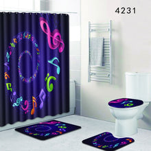 Load image into Gallery viewer, Modern Music Shower Curtain/Bath Mat 4-Piece Set!