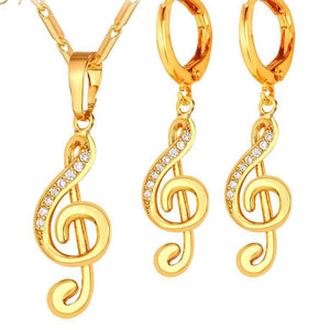 Affordable Musical Necklace And Drop Earrings In Gold Color Or Rhodium!
