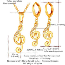 Load image into Gallery viewer, Affordable Musical Necklace And Drop Earrings In Gold Color Or Rhodium!