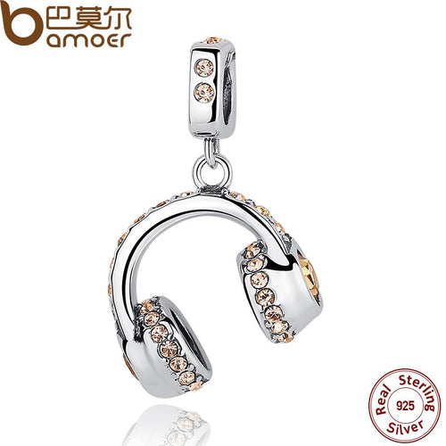 Sparkling, Unique  .925 Sterling Silver Earphone Pendant