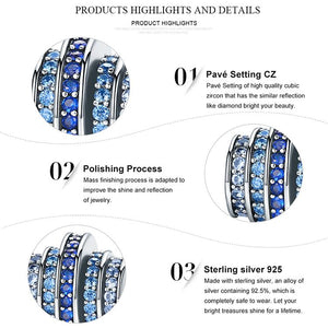 .925 Sterling Silver Charms With Blue CZ !