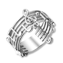 Load image into Gallery viewer, Women's Sterling Musical Note Ring In Sizes 6/7/8!