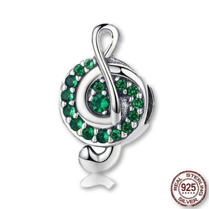 """I Love Music"" Charm Sparkles With Green Cubic Zirconia!"