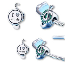 "Load image into Gallery viewer, ""I Love Music"" Charm Sparkles With Green Cubic Zirconia!"