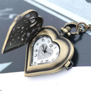 Heart-Shaped Watch Pendant in Antique Gold or Silver!