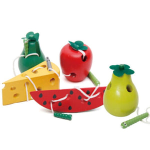 Buy Three, Get One Free! Wooden Fruit Lace-Up Toys!