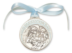 PEWTER BLUE BABY CRIB MEDAL