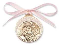 ANTIQUE GOLD PINK CRIB MEDAL