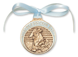 Blue Antique Gold Crib Medal