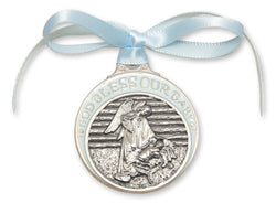 BLUE PEWTER CRIB MEDAL