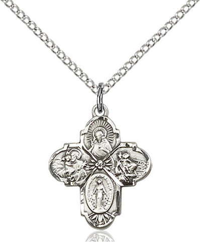 .925 SILVER 4-WAY CATHOLIC MEDAL SMALL