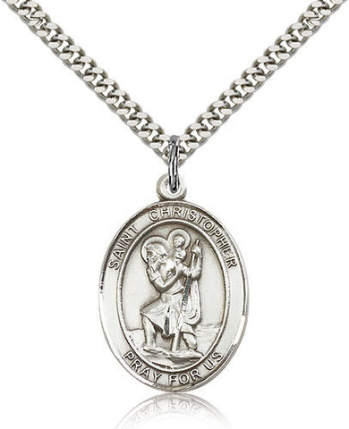 SILVER ST CHRISTOPHER MEDAL WITH NECKLACE