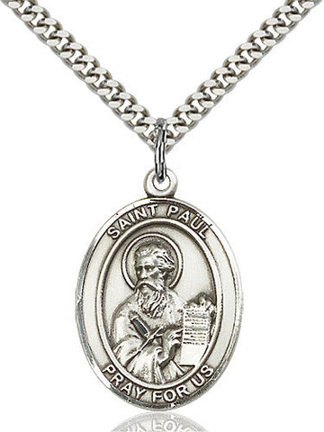 OVAL SILVER ST PAUL THE APOSTLE NECKLACE