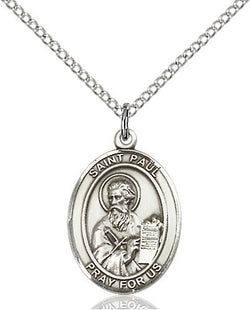 SMALL OVAL SILVER ST PAUL THE APOSTLE NECKLACE