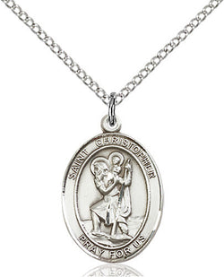 STERLING SILVER ST. CHRISTOPHER MEDAL (OVAL)