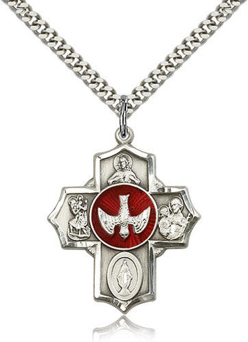 STERLING SILVER 5-WAY MEDAL RED EPOXY