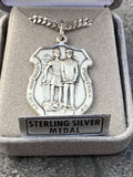 Sterling Silver St. Michael Necklace Police Officer Badge Medal (With Custom Laser Engraving)