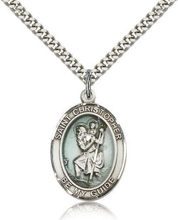 STERLING SILVER BLUE ST CHRISTOPHER MEDAL (OVAL)