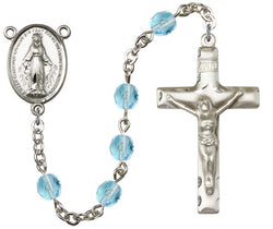 Brass Rosary with 6mm Aqua Beads