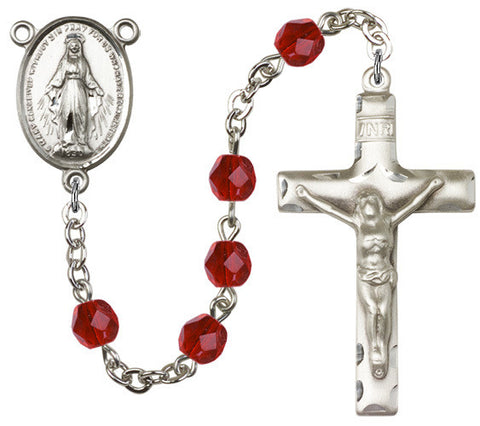 Brass Rosary with 6mm Ruby Beads
