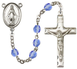 Brass Rosary with 6mm Sapphire Beads