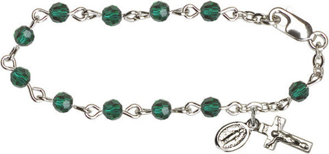 Emerald Infant Rosary Bracelet