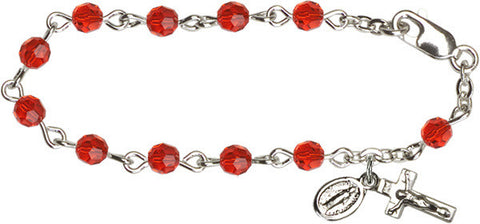 Ruby Infant Rosary Bracelet
