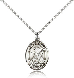 STERLING SILVER SAINT BRIGID OF IRELAND OVAL MEDAL