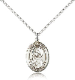 STERLING SILVER SAINT MONICA MEDAL OVAL
