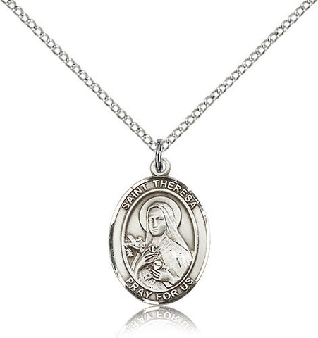 OVAL .925 SILVER SAINT THERESA MEDAL