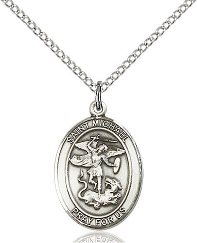 STERLING SILVER ST MICHAEL MEDAL OVAL