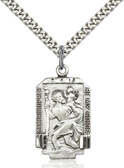 .925 SILVER ST. CHRISTOPHER MEDAL WITH NECKLACE
