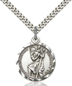 STERLING SILVER ST CHRISTOPHER MEDAL / PLAIN BACK