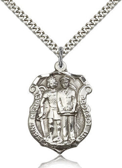 STERLING SILVER ST MICHAEL POLICE OFFICERS BADGE W/ NECKLACE