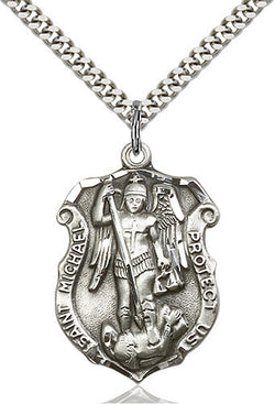 STERLING SILVER SAINT MICHAEL SHIELD MEDAL