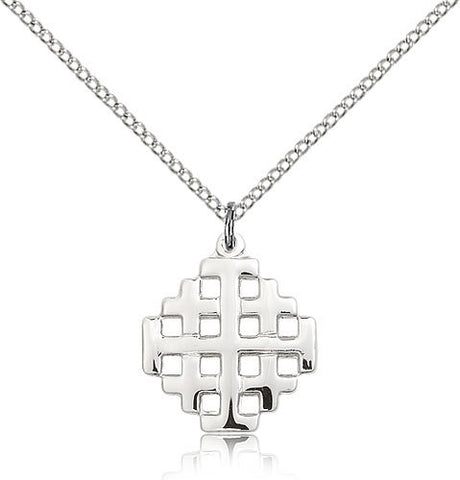 STERLING SILVER POLISHED JERUSALEM CROSS