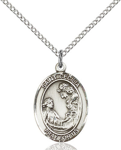 STERLING SILVER ST CECILIA MEDALLION OVAL