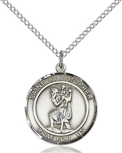 ROUND STERLING SILVER ST. CHRISTOPHER MEDAL